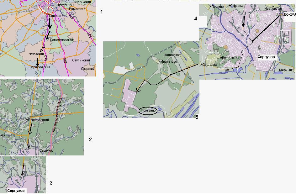 Из Серпухова · Схема проезда в